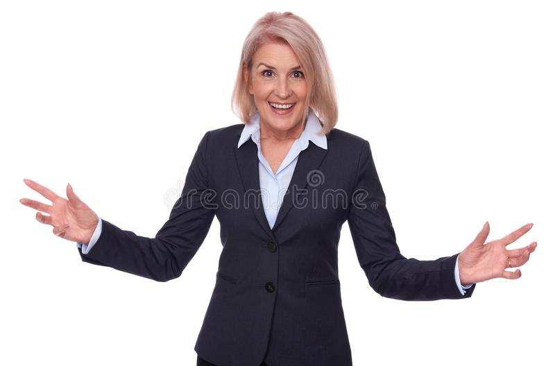 Happy middle aged businesswoman isolated royalty free stock image