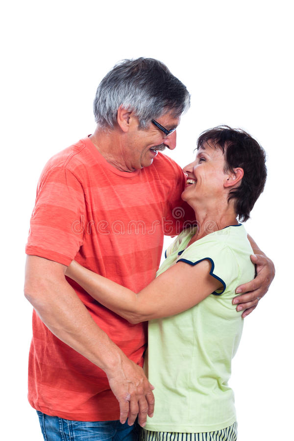Happy middle aged couple laughing royalty free stock photography