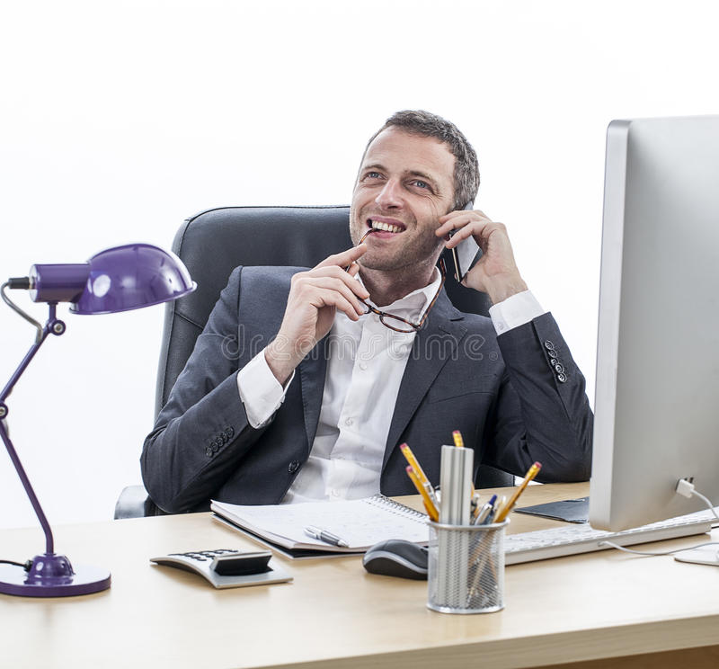 Happy middle aged male entrepreneur with imagination, perspective and prospective royalty free stock photo