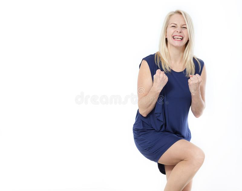 Happy middle aged woman victory sign. u royalty free stock image