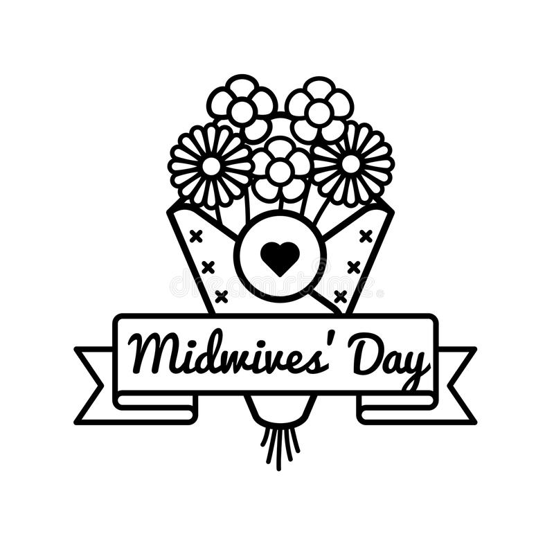 Happy Midwives day greeting emblem stock illustration