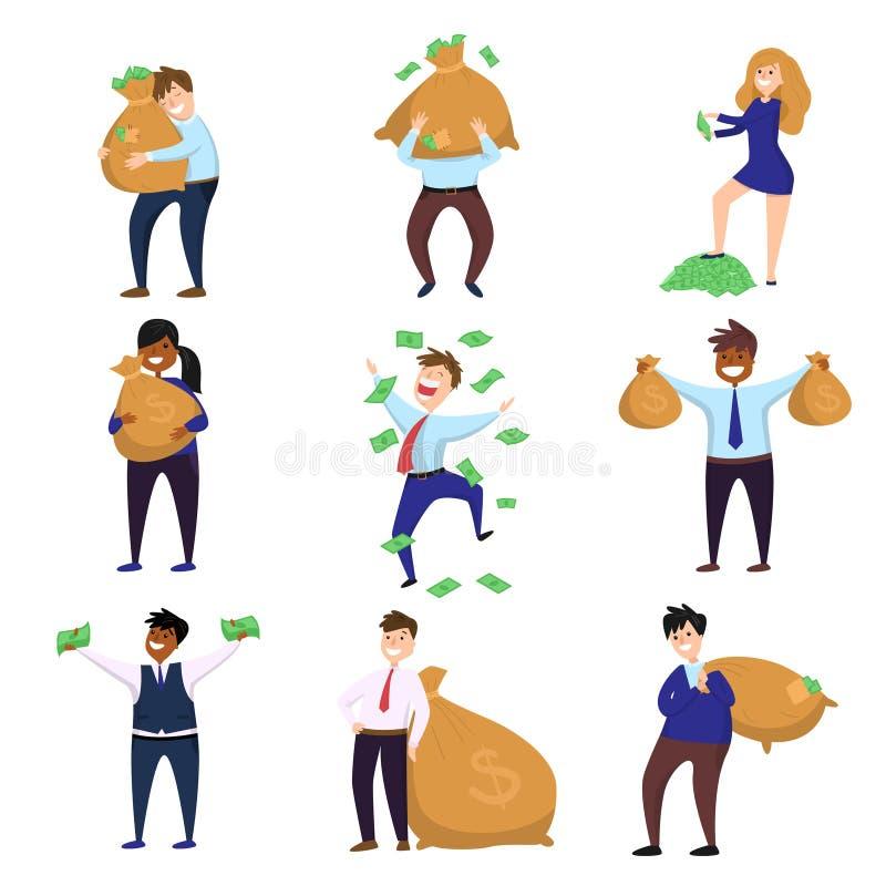 Set of happy millionaire characters enjoying money and wealth isolated on white background stock illustration