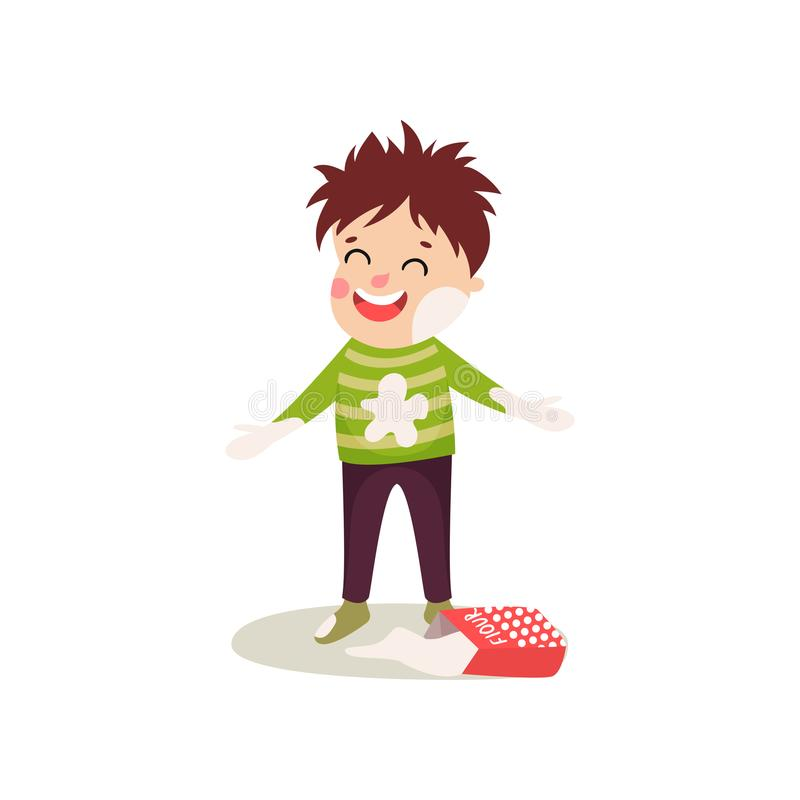 Happy misbehaving boy playing with flour, cartoon character of naughty boy. Happy misbehaving boy playing with flour and making mess. Cartoon naughty kid stock illustration