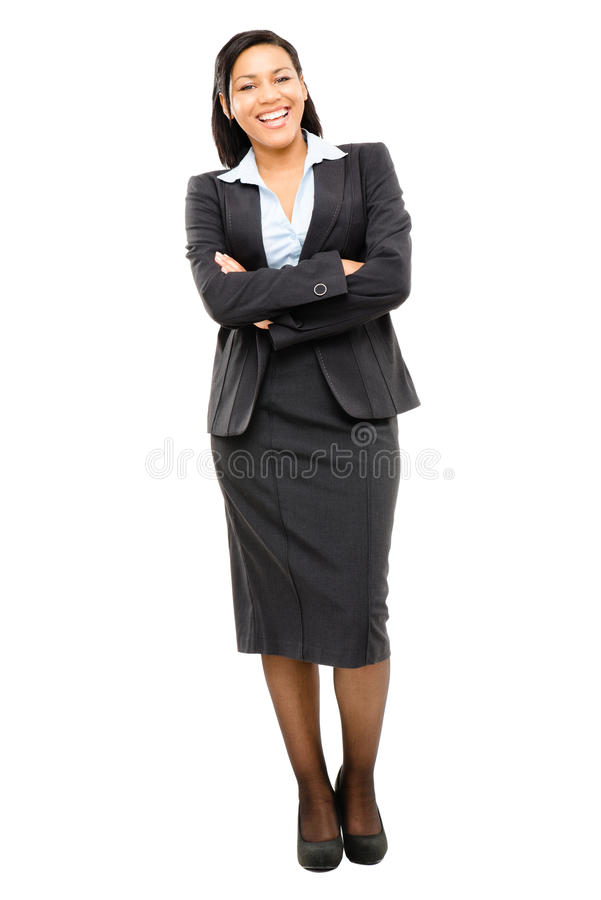 Happy mixed race business woman isolated on white background. Happy mixed race business woman full length smiling stock photo