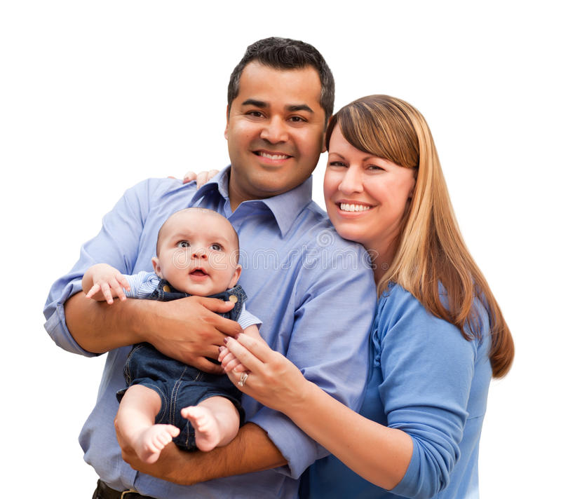 Happy Mixed Race Family With Infant Posing for A Portrait. Happy Mixed Race Family Posing for A Portrait Isolated on a White Background stock images