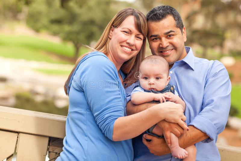 Happy Mixed Race Family Posing for A Portrait in the Park stock images