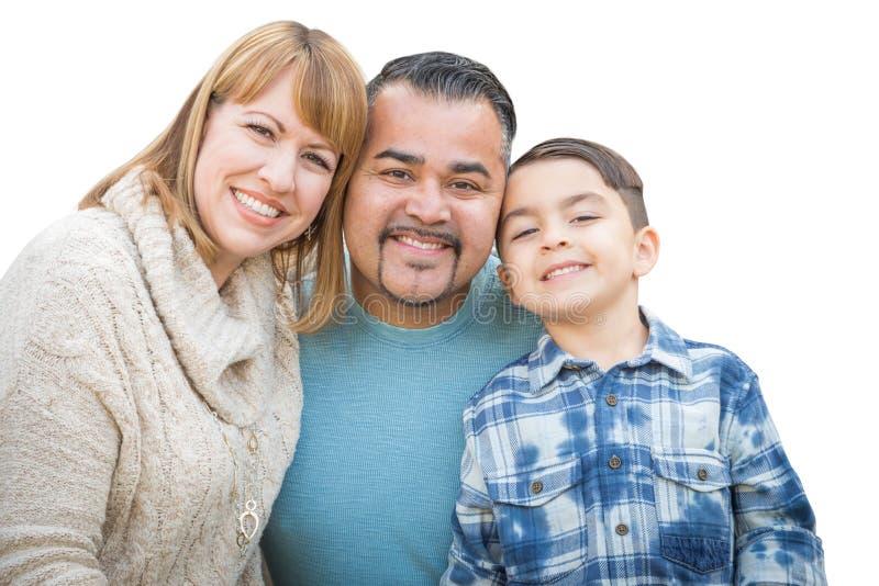 Happy Mixed Race Hispanic and Caucasian Family Isolated on White. Happy Mixed Race Hispanic and Caucasian Family Isolated on a White Background stock image