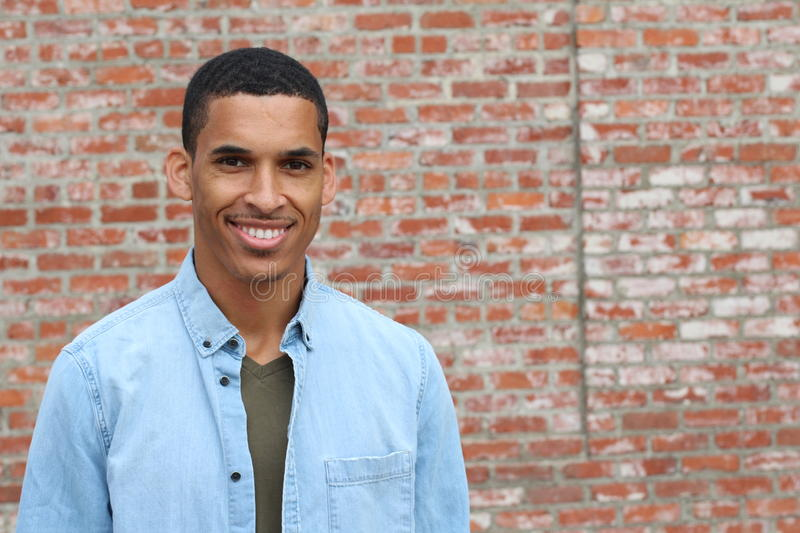 Happy Mixed Race Male Smiling Portrait with Copy Space royalty free stock photography