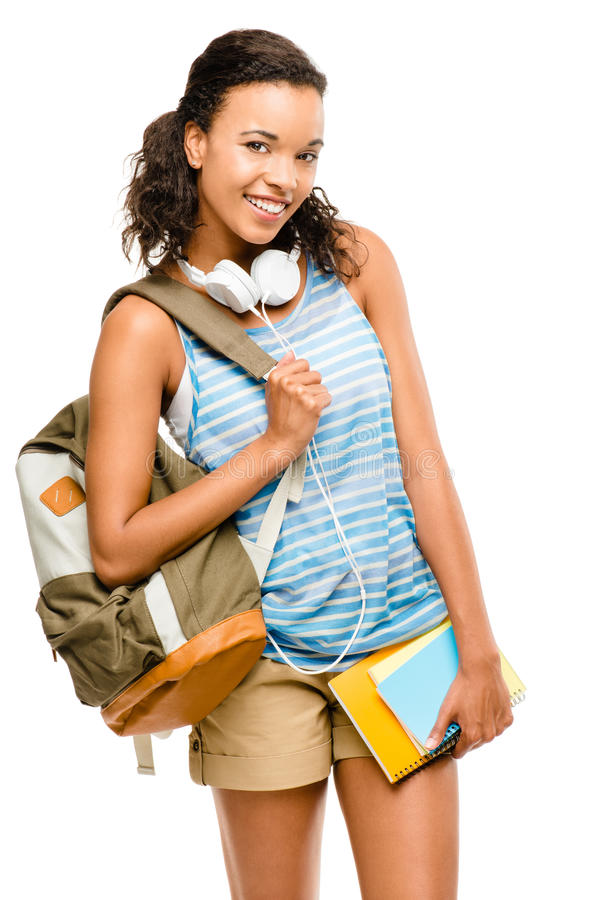 Happy mixed race woman student going back to school stock photos