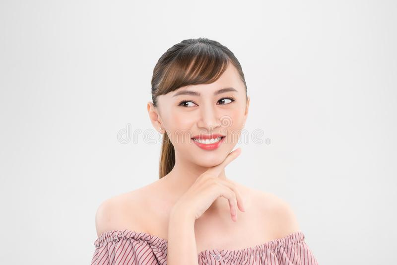 Happy model girl face. Pretty woman with clear skin stock images