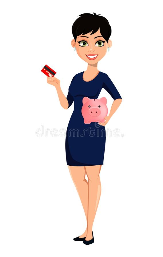 Happy modern business woman with short haircut. Beautiful lady businesswoman holding credit card and piggy bank. Attractive cartoon character for any purposes royalty free illustration