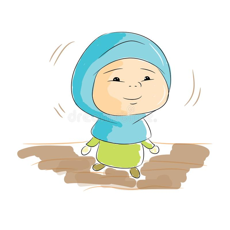 Happy moeslim kid. Can be used at your poster and tshirt image. happy kid. happy children. hijab`s muslimah stock illustration