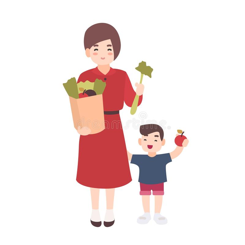 Happy mom and little son holding fruits and vegetables. Smiling mother and her child carry healthy food. Cute flat. Cartoon characters isolated on white vector illustration
