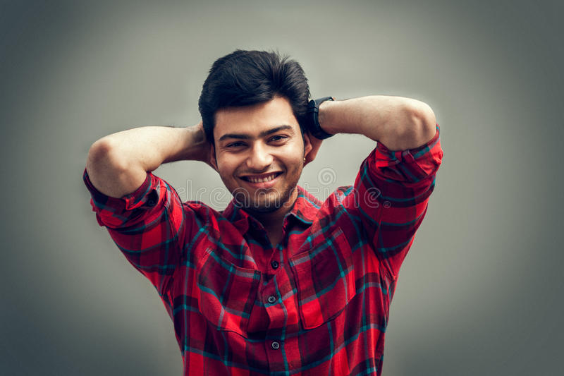 Happy moment of indian man stock photo