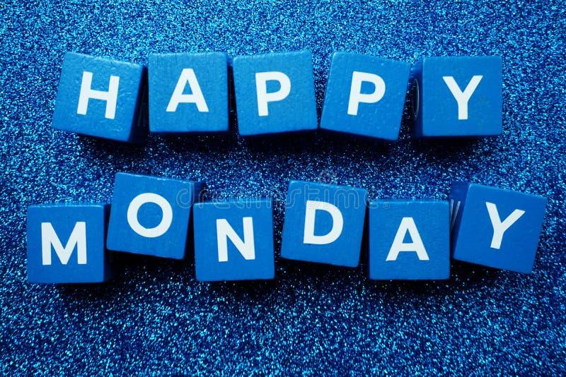 Happy Monday alphabet letter on glitter background. Flat lay Happy Monday alphabet letter on glitter background royalty free stock photography