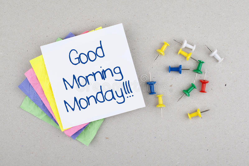 Happy Monday Morning. Good morning monday note message royalty free stock image
