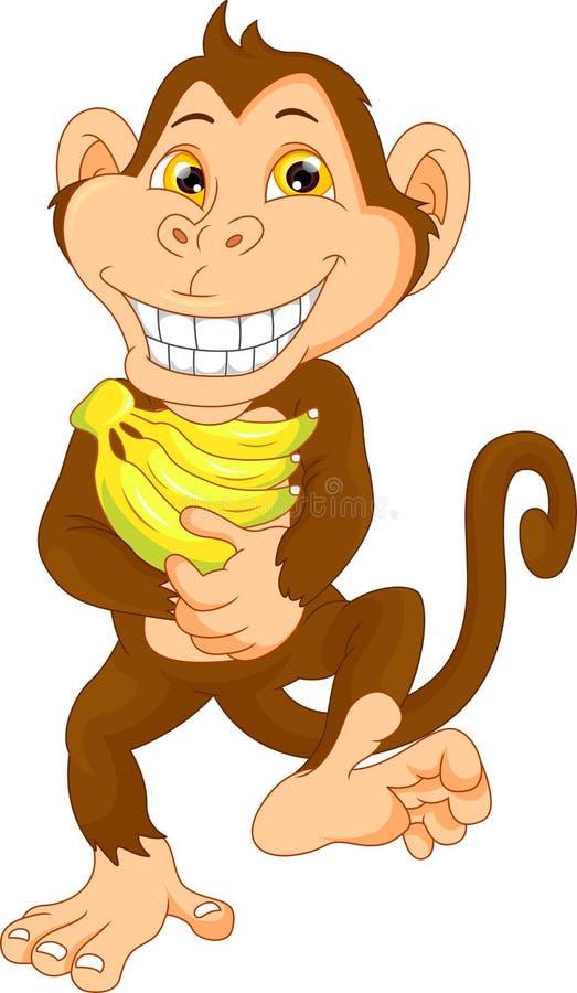 Happy monkey cartoon with banana stock illustration