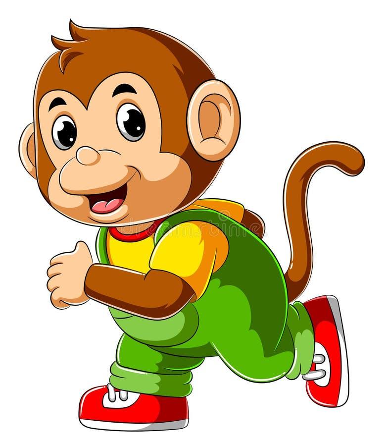 Happy monkey cartoon running vector illustration
