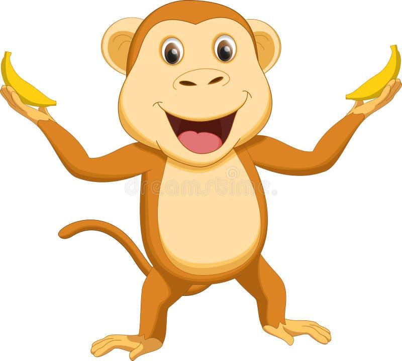 Happy monkey cartoon with two banana vector illustration