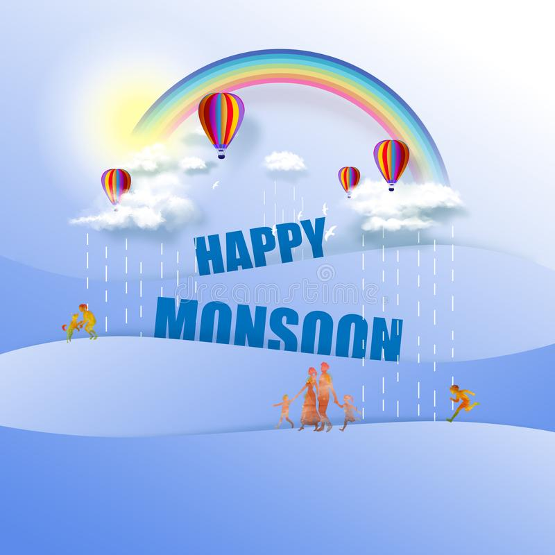 Happy Monsoon Poster Or Sale Banner Template Design. Hot air balloons in cloudy sky with rainbow on good weather background. royalty free illustration