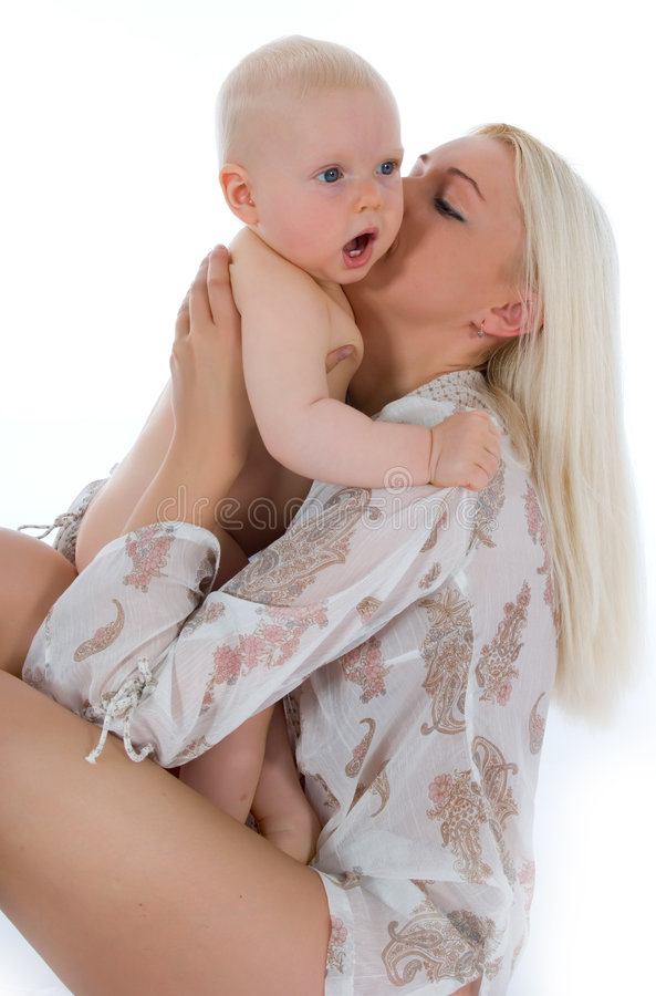 Happy mother with baby. Over white stock images