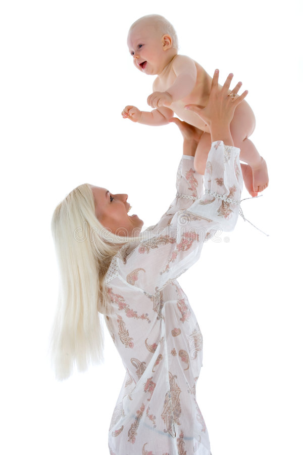 Happy mother with baby. Over white royalty free stock photos