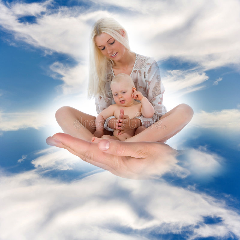 Happy mother with baby. Over sky stock image