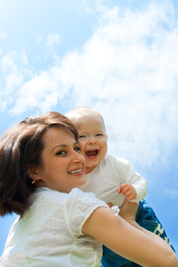 Happy mother and baby royalty free stock images