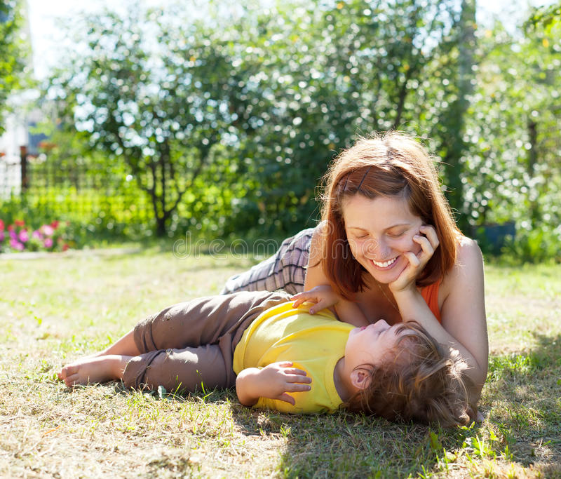 Download Happy mother and child stock photo. Image of parent, meadow - 26489496