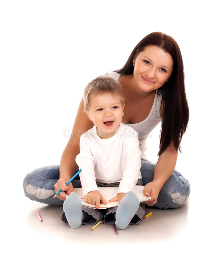Happy mother with a child. On a white background stock images