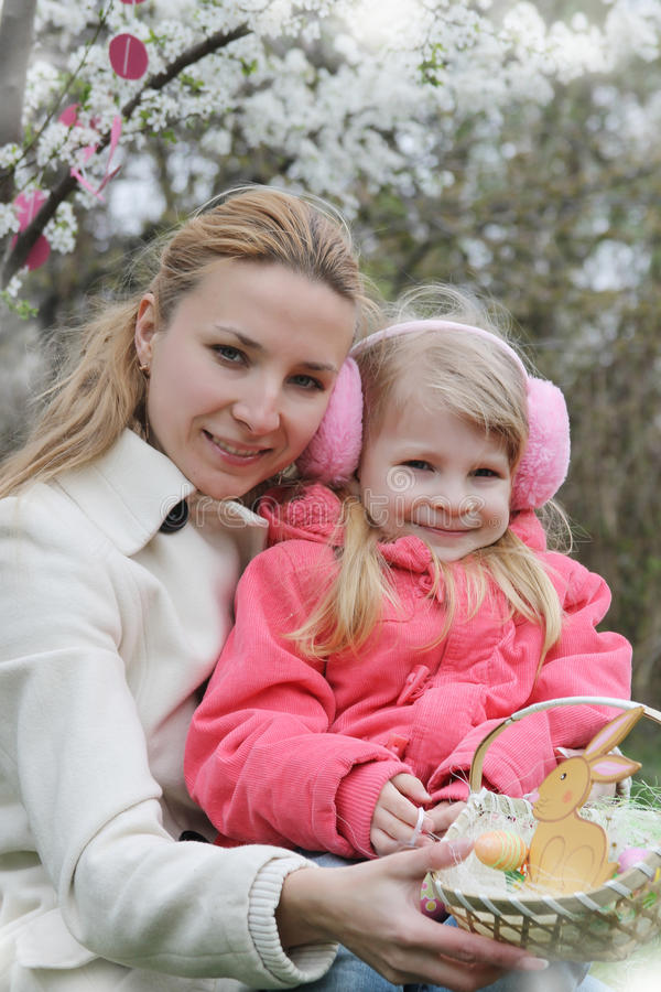 Download Happy Mother And Child With Easter Decoration Stock Image - Image of cherry, blossom: 39506245