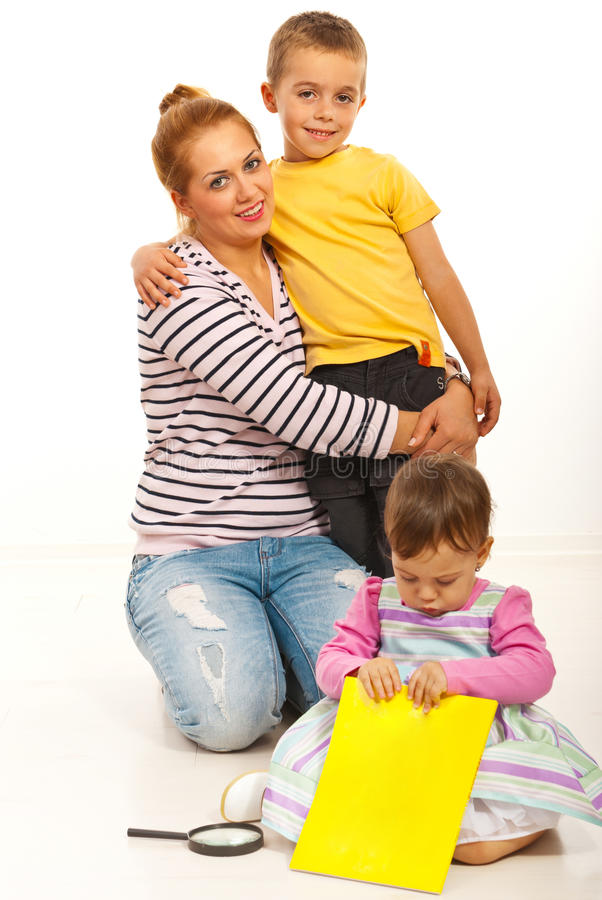Download Happy mother and children stock photo. Image of hugging - 27686970