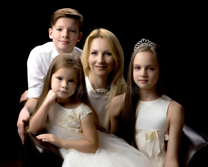Happy mother with children. royalty free stock image