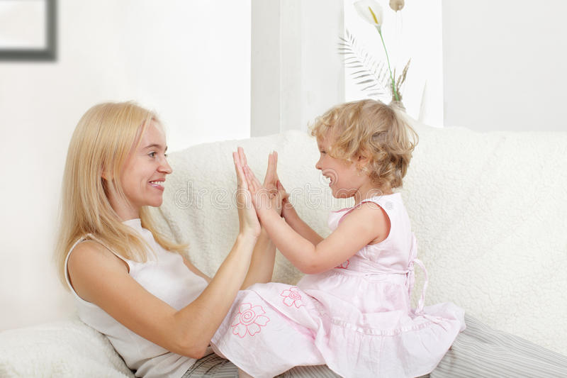 Happy mother with a daughter royalty free stock photography