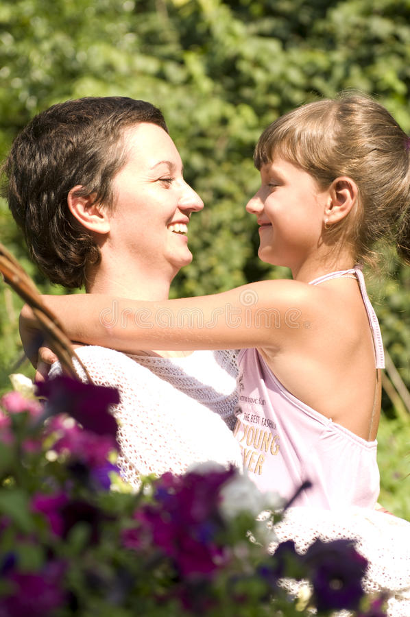 Happy mother and daughter outdoor
