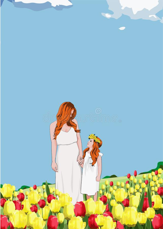 Happy mother and daughter on a spring afternoon among a field of tulips royalty free illustration