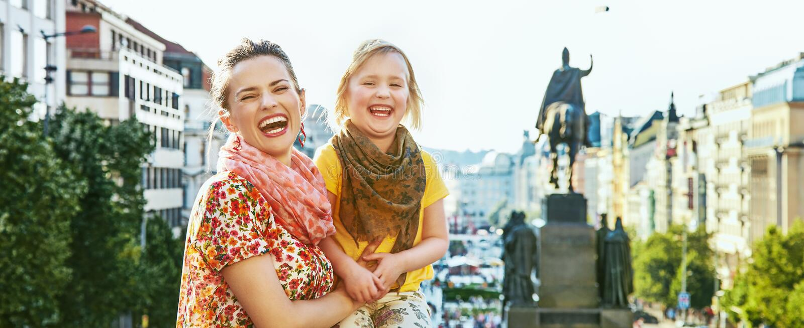 Happy mother and daughter tourists in Prague Czech Republic royalty free stock photos