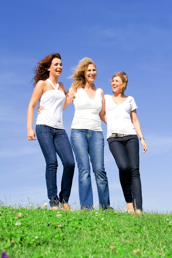 Happy mother and daughters royalty free stock photography
