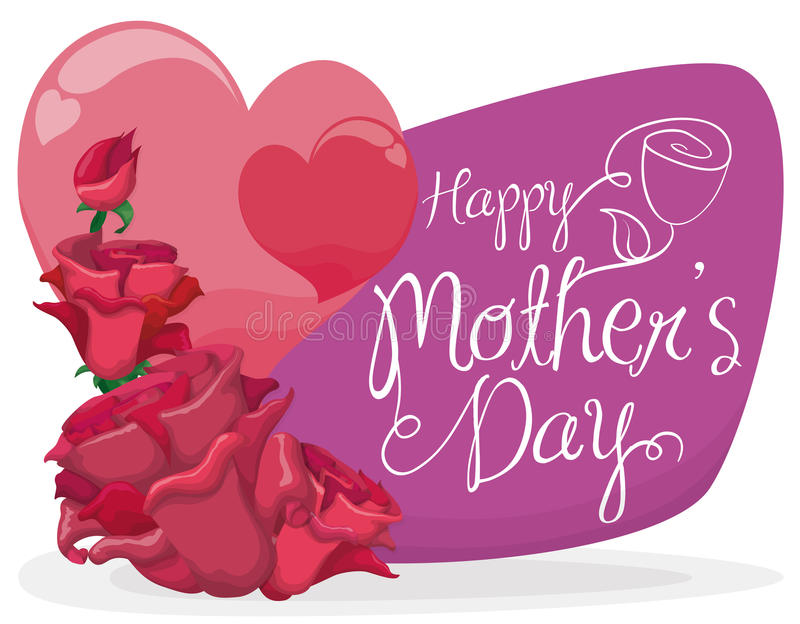 Clip Art Line Of Hearts : Hearts and roses for splendid mothers in their day vector