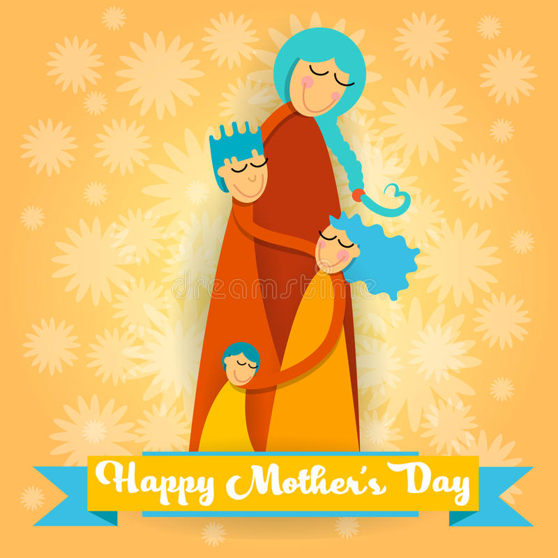 Happy Mother Day, Family Love Three Children, Mom Boy and Girl Embrace Greeting Card. Vector Illustration stock illustration