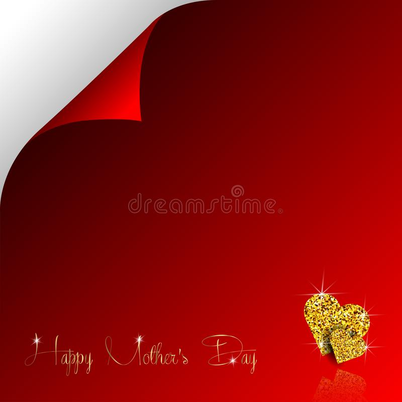 Happy Mother Day of gold glitter hearts and vector golden calligraphy text for luxury premium greeting card on red stock illustration