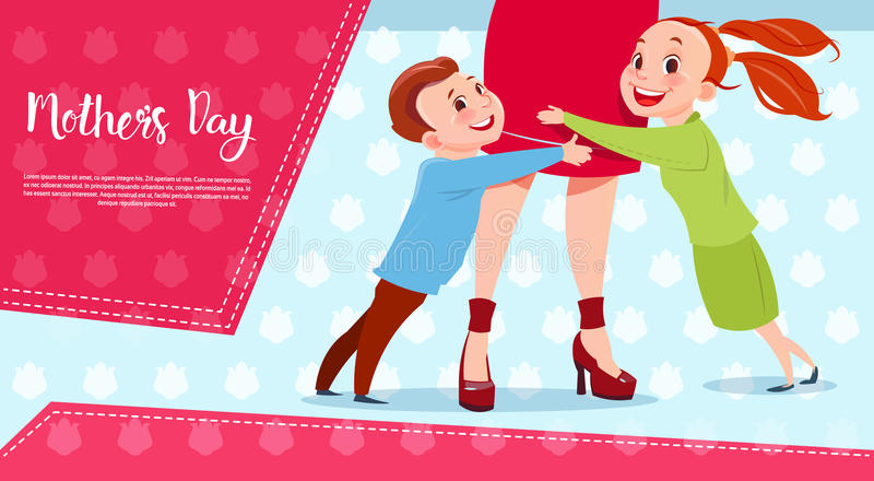 Happy Mother Day, Son And Daughter Embracing Mom, Spring Holiday Greeting Card Banner stock illustration