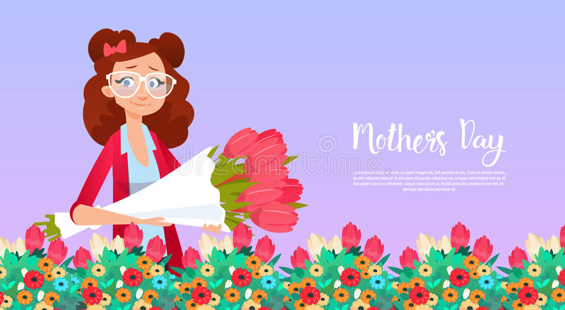 Happy Mother Day, Woman Hold Flowers Bouquet Spring Holiday Greeting Card Banner stock illustration