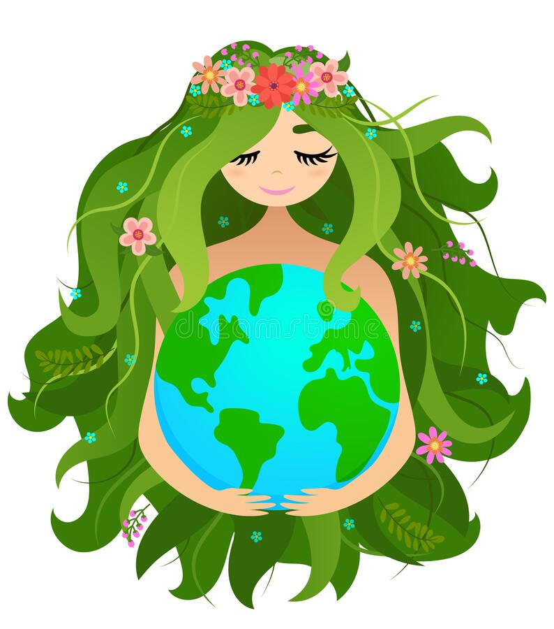 Free Happy Mother Earth Day  - Vector Planet Earth And Beautiful Mother Drawing With Flower Wreath. Royalty Free Stock Photos - 215824618