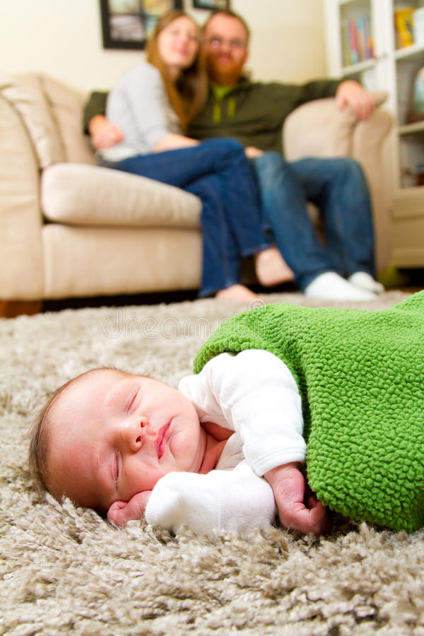 Happy Mother and Father With Newborn royalty free stock photos