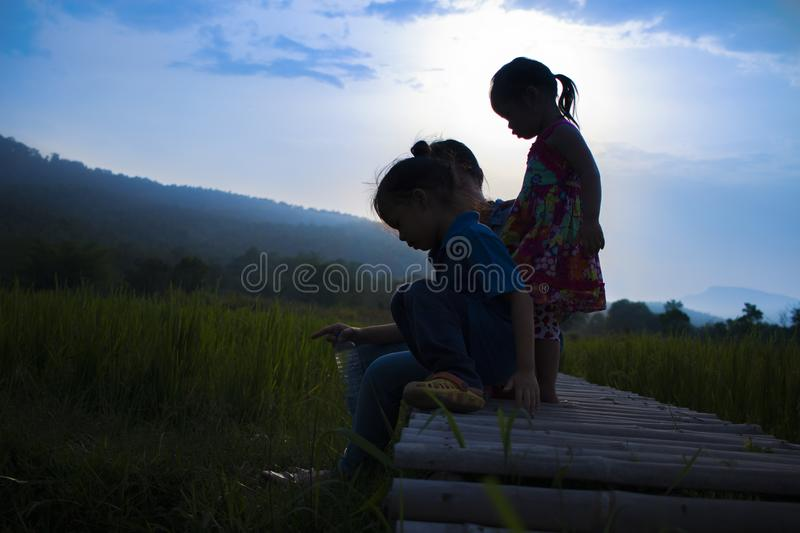 Happy Mother and her child play outdoors having fun in the Green rice field stock photography