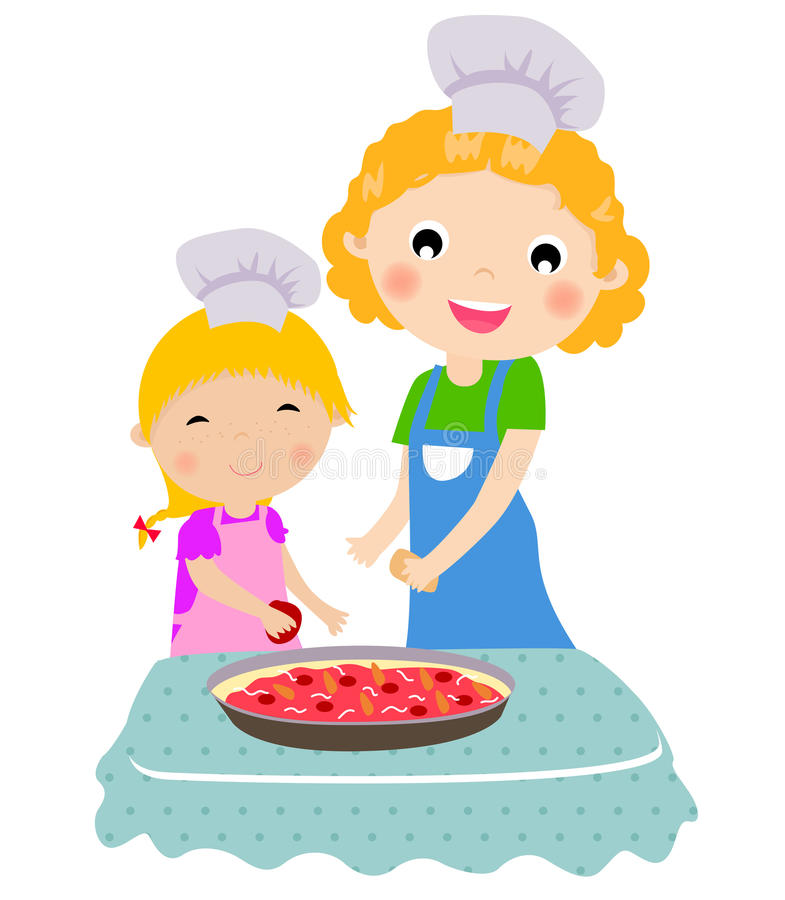 Happy mother with her daughter cooking in the kitc stock illustration