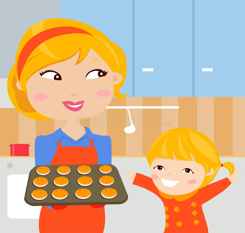 Happy mother and her daughter cooking in the kitchen stock illustration