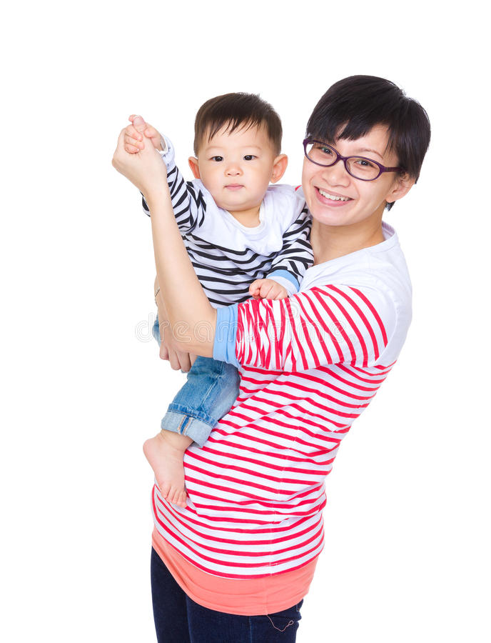 Happy mother and her son stock images
