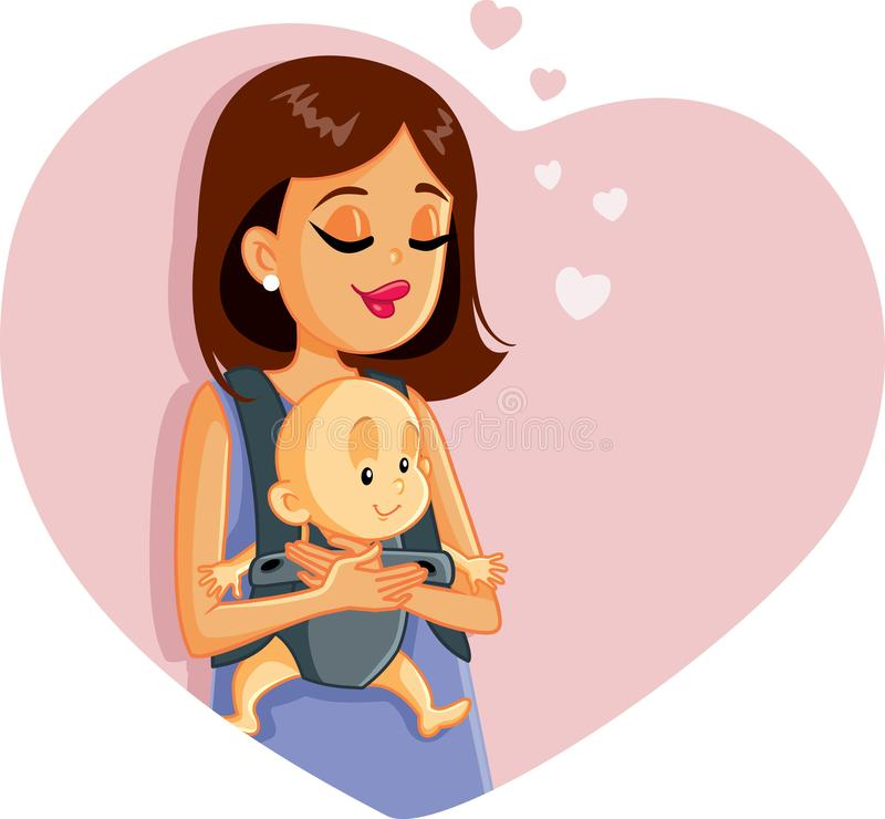 Happy Mother Holding Baby Vector Illustration. Maternal love mom hugging baby concept logo design illustration vector illustration
